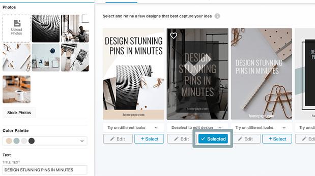 Select your winning pin design. (Image: Screenshot of design selection step)