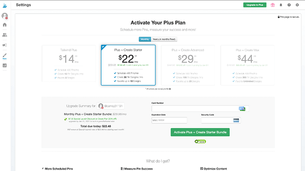Lock in the special launch pricing for your Tailwind account. (Image: Screenshot of launch pricing table - monthly)