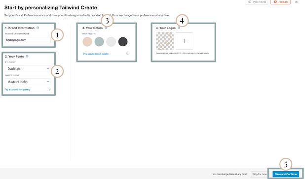 Start by personalising Tailwind Create. (Image: Screenshot of branding step)